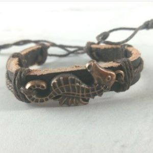 Jewelry - Leather Cuff With Seahorse Charm